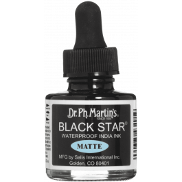 Dr Ph Martin's Black Star India Ink 30ml - Waterproof