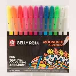 Set of 12 Gelly Roll Moonlight Fluorescent Gel Pens