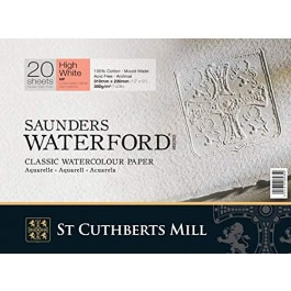 "Saunders Watercolour Block 12x9"" ~ 300gsm HP - High White"